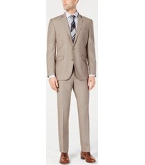 kenneth cole reaction men's big & tall ready flex slim-fit stretch tan suit