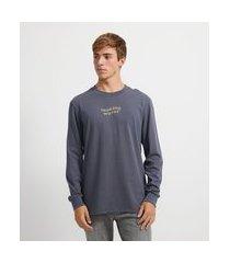 camiseta manga longa estonada com estampa waves | ripping | cinza | pp
