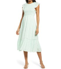 lost + wander blossom & bloom floral smocked dress, size x-small in mint white floral at nordstrom