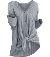 button front knot knitted top