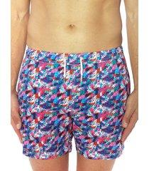 bertigo men's multicolor pixelated swim shorts - size xxl