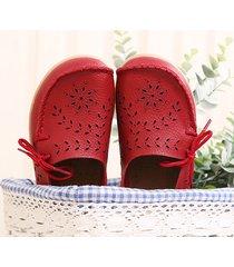 socofy scarpe basse in pelle traforate e floreali con lacci soletta comoda e morbida