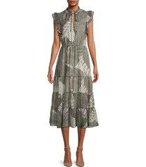 bb dakota women's mixed print dress - surplus green - size l