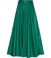 anouki pleated faux-leather midi skirt - green