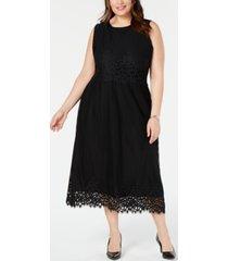 alfani plus size geo-lace midi dress, created for macy's