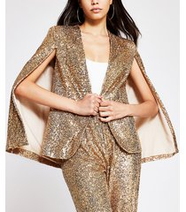 river island womens gold long sleeve sequin embellished cape