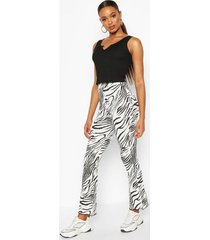 animal print flared rib legging, white
