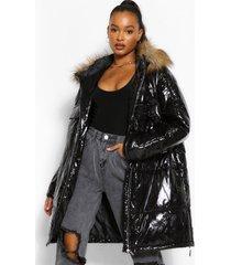 lang gewatteerde hoogglans jas met capuchon van imitatiebont, zwart