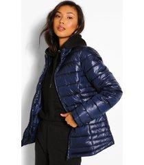 getailleerde gewatteerde jas met hoge hals, navy