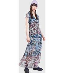 vestido desigual dress kaki floral gris - calce regular