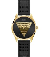 guess unisex gold-tone and black silicone logo watch, 36mm