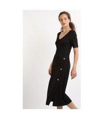 vestido feminino midi canelado com botões manga curta preto