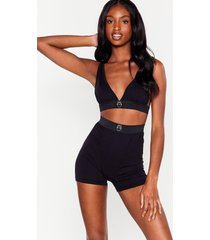 womens mouth off bralette and boxer shorts set - black