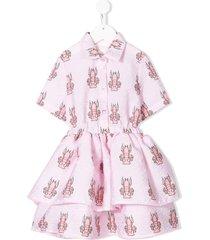 caroline bosmans lobster shirt flared dress - pink