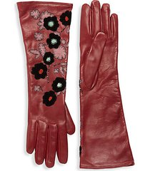 floral embroidery leather long gloves