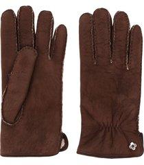 lardini suede shearling gloves - brown