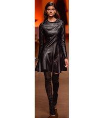 women celeb style haute couture premium cocktail party women leather dress-gn35