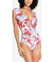 rachel rachel roy island getaway tie-front ruffle one-piece swimsuit women's swimsuit
