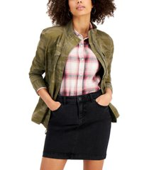 style & co petite camo-print twill jacket, created for macy's