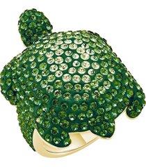 anello mustique sea life turtle, grande, verde, placcato color oro