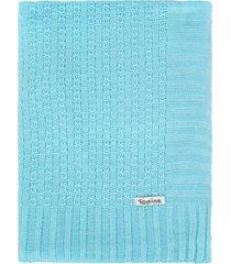 manta cobertor de berço tricô tamine luxo azul bebê - kanui