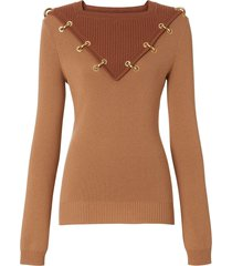 burberry ring-pierced two-tone wool cashmere sweater - brown