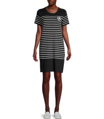 karl lagerfeld paris women's striped sweater dress - black white - size xs