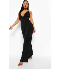strakke wide leg jumpsuit met strik en textuur, black