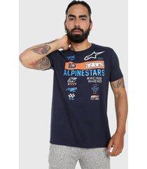 camiseta azul navy-naranja-blanco alpinestars sponsored tee