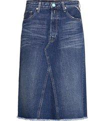 t-shirt rose label pack knälång kjol blå replay