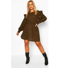 plus grid flannel ruffle skater dress, khaki