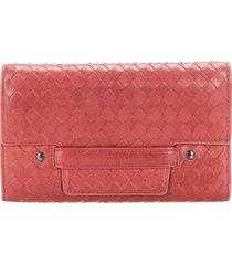 bottega veneta intreciato leather long wallet brown sz: