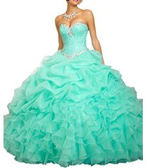 fanmu sweetheart beaded ball gown organza quinceanera dresses green us 2