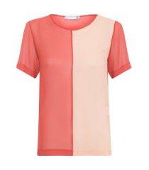 camiseta feminina bicolor seda - marrom