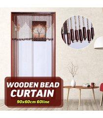 90x60cm 60line corto de madera pantalla cortina del grano de la mosca porche dormitorio salón baño - beige + marrón