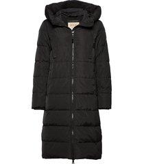 nova down coat gevoerde lange jas zwart mos mosh