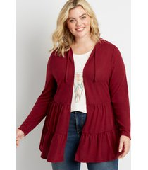 maurices plus size womens burgundy cozy tiered open front hooded cardigan