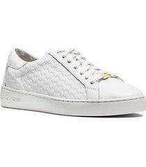 mk sneaker colby in pelle con logo goffrato - bianco ottico (bianco) - michael kors