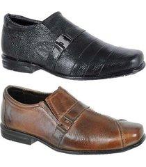 kit 2 pares sapato social infantil couro leoppé - masculino