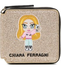 chiara ferragni embroidered patch detail purse - gold