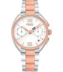 momento fendi two-tone stainless steel chronograph bracelet watch