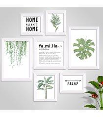 conjunto kit 7 quadro oppen house s frases reflexão home sueet folhagem família moldura branca e vidro