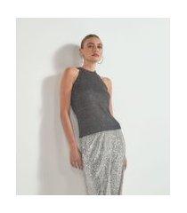 blusa regata em tricô com fio metalizado e paetês | cortelle | preto | p