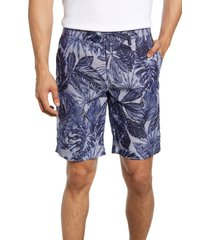 men's ted baker london slim fit leaf print shorts, size 32 - blue