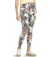 hue women's floral old masters high rise denim leggings