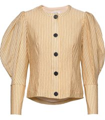 button-detailed blouse with puffed sleeves blus långärmad beige designers, remix