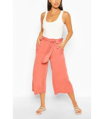 geweven baggy culottes met ceintuur, rose
