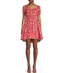 bardot floral fit-&-flare dress
