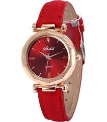reloj pulsera mujer cuarzo analogico pulso cuero pu 932 rojo