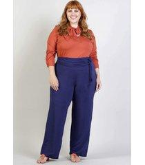 calça pantalona plus size boa vista - palank - azul marinho